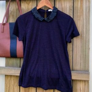 MADEWELL SEQUIN COLLARED BLOUSE MED
